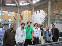 A group of selected students at the German parliament